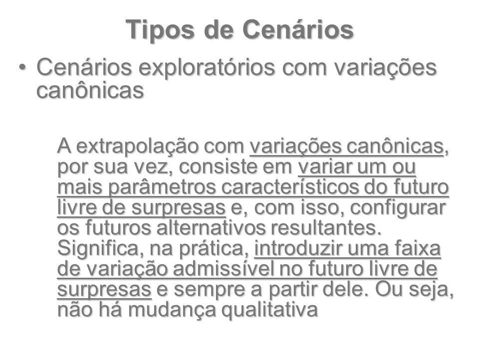 Tipos de Cenários Cenários exploratórios com variações canônicasCenários exploratórios com variações canônicas A extrapolação com variações canônicas,