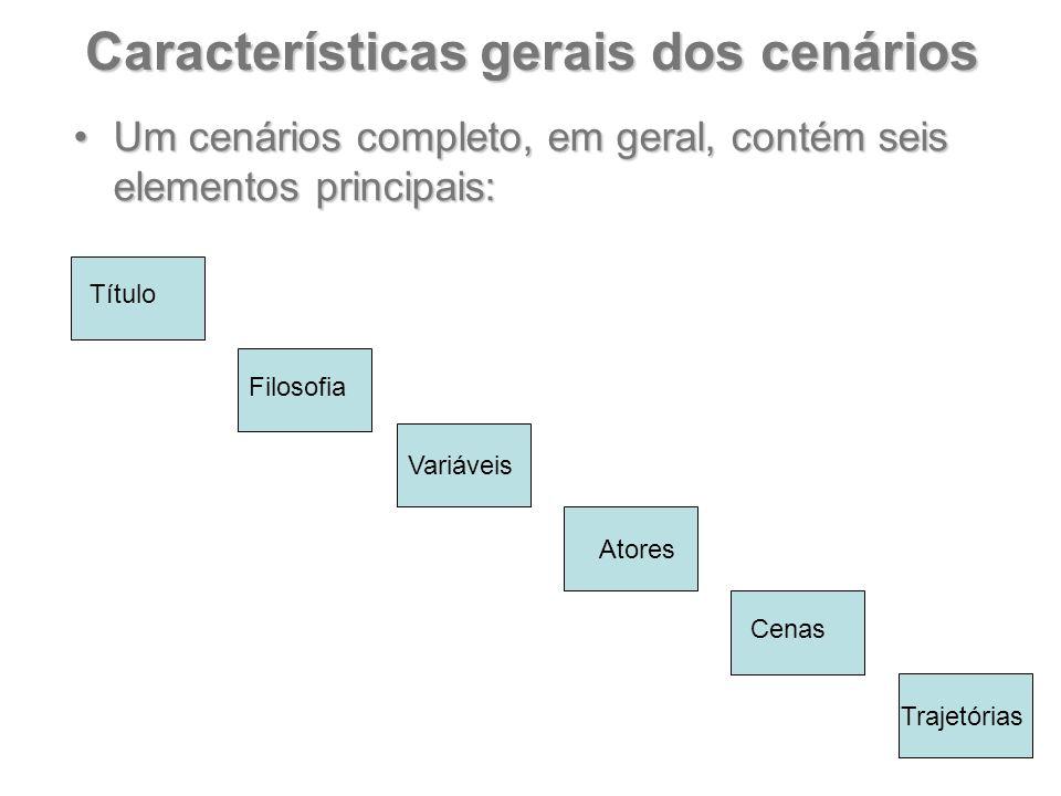 Características gerais dos cenários Um cenários completo, em geral, contém seis elementos principais:Um cenários completo, em geral, contém seis eleme