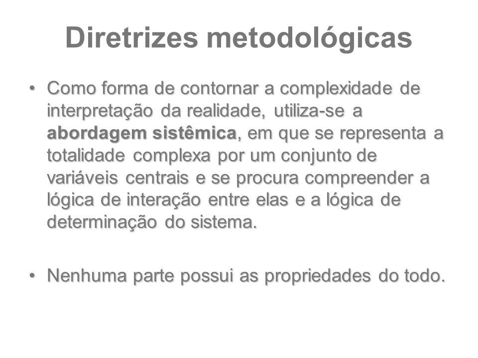 Diretrizes metodológicas Como forma de contornar a complexidade de interpretação da realidade, utiliza-se a abordagem sistêmica, em que se representa