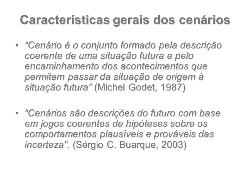 """Características gerais dos cenários """"Cenário é o conjunto formado pela descrição coerente de uma situação futura e pelo encaminhamento dos acontecimen"""