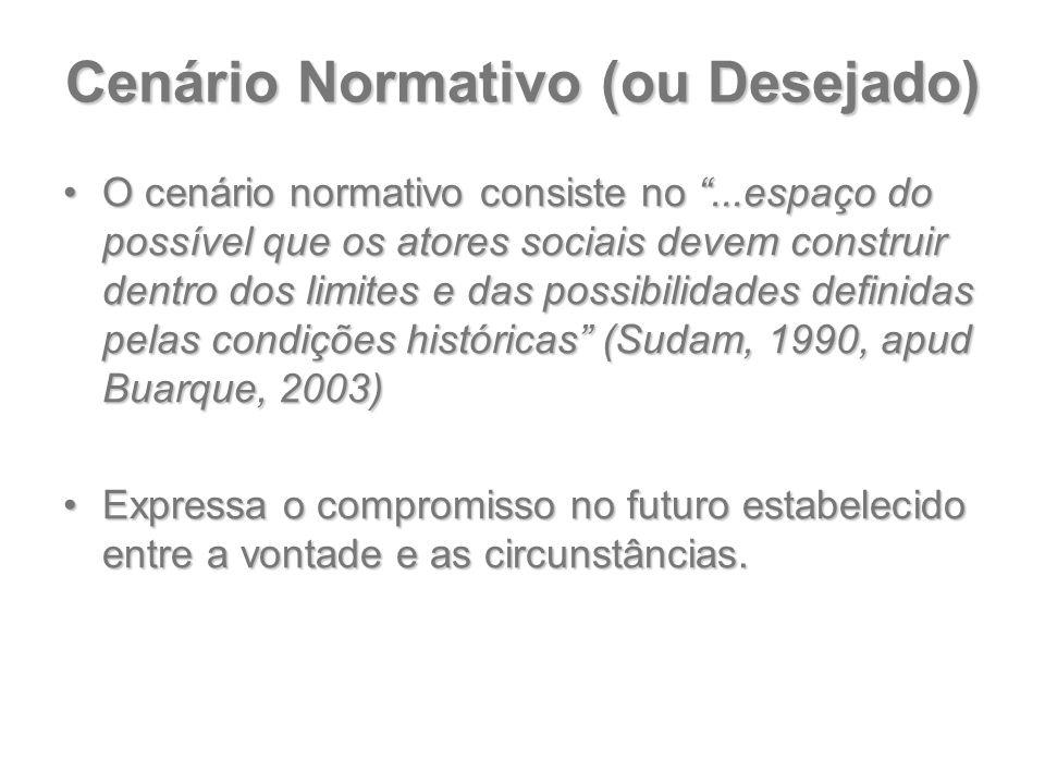 """Cenário Normativo (ou Desejado) O cenário normativo consiste no """"...espaço do possível que os atores sociais devem construir dentro dos limites e das"""