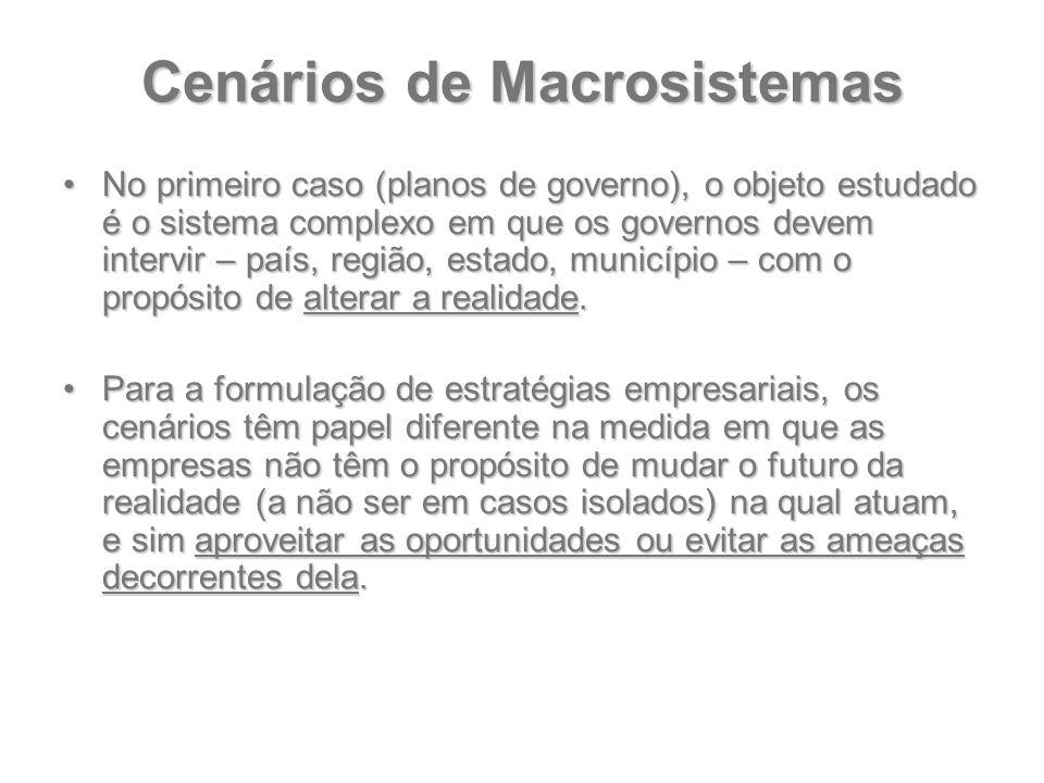 Cenários de Macrosistemas No primeiro caso (planos de governo), o objeto estudado é o sistema complexo em que os governos devem intervir – país, regiã