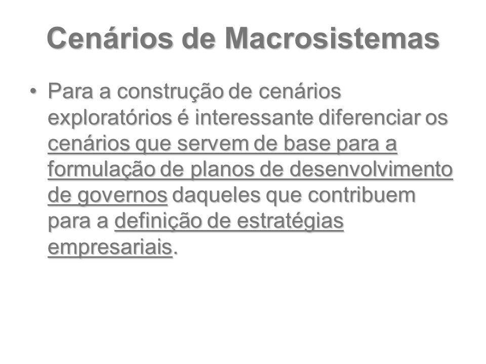 Cenários de Macrosistemas Para a construção de cenários exploratórios é interessante diferenciar os cenários que servem de base para a formulação de p