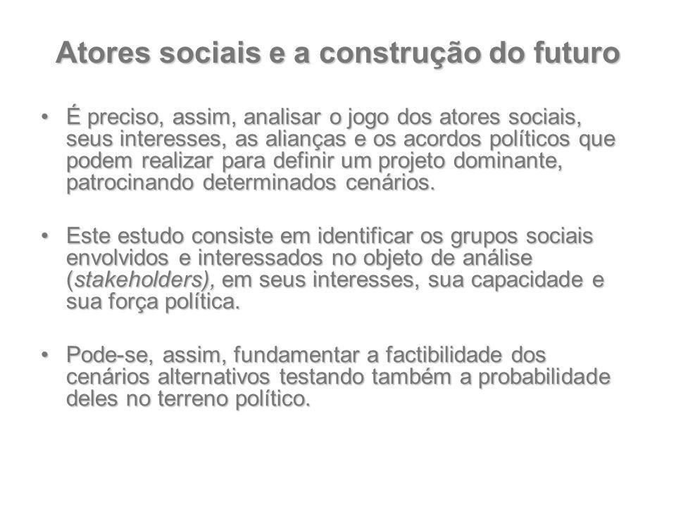 Atores sociais e a construção do futuro É preciso, assim, analisar o jogo dos atores sociais, seus interesses, as alianças e os acordos políticos que