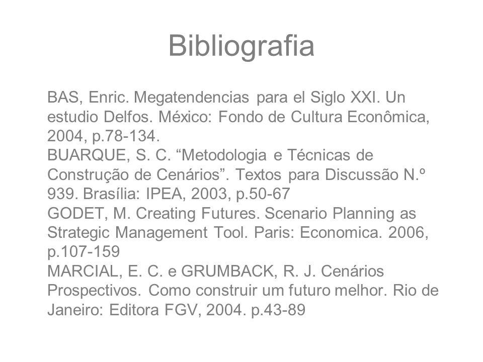 "Bibliografia BAS, Enric. Megatendencias para el Siglo XXI. Un estudio Delfos. México: Fondo de Cultura Econômica, 2004, p.78-134. BUARQUE, S. C. ""Meto"