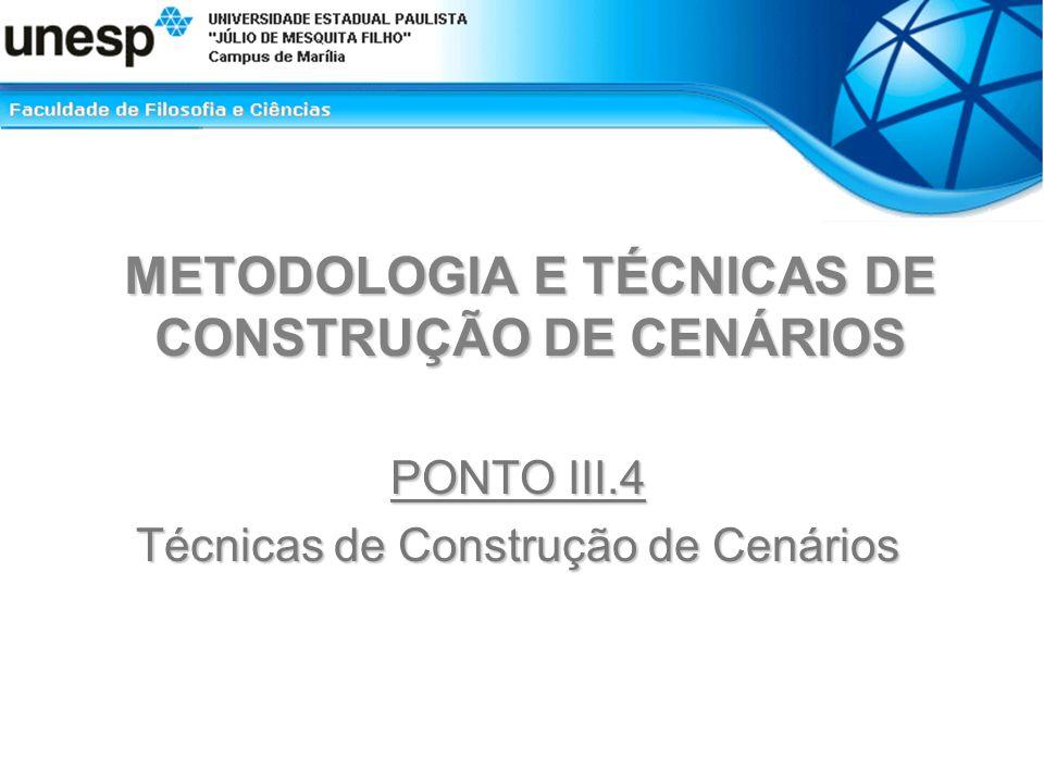 METODOLOGIA E TÉCNICAS DE CONSTRUÇÃO DE CENÁRIOS PONTO III.4 Técnicas de Construção de Cenários