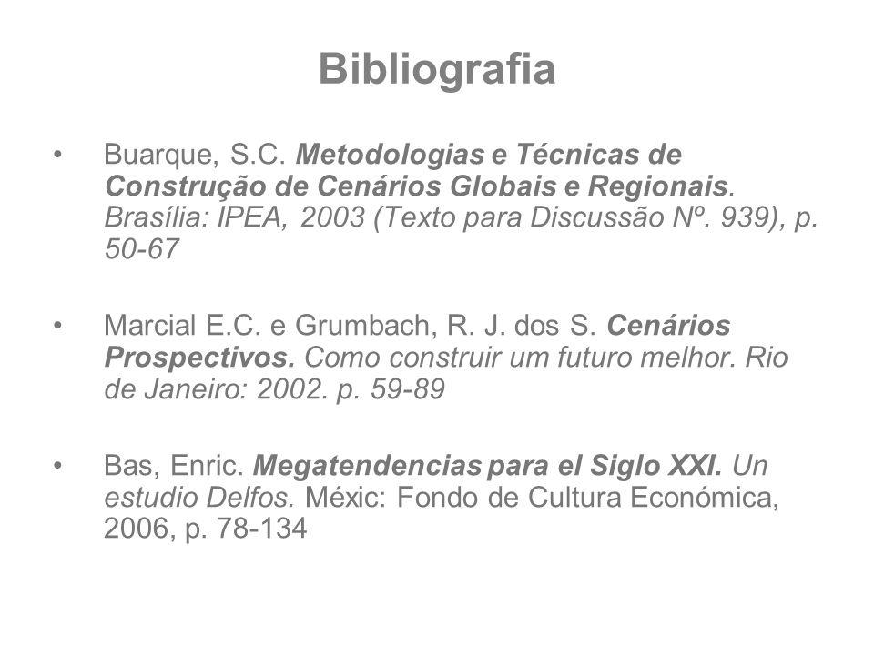 Bibliografia Buarque, S.C. Metodologias e Técnicas de Construção de Cenários Globais e Regionais. Brasília: IPEA, 2003 (Texto para Discussão Nº. 939),