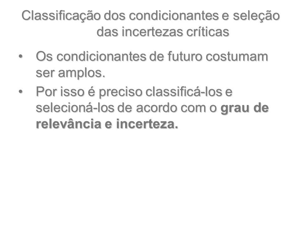 Classificação dos condicionantes e seleção das incertezas críticas Os condicionantes de futuro costumam ser amplos.Os condicionantes de futuro costuma