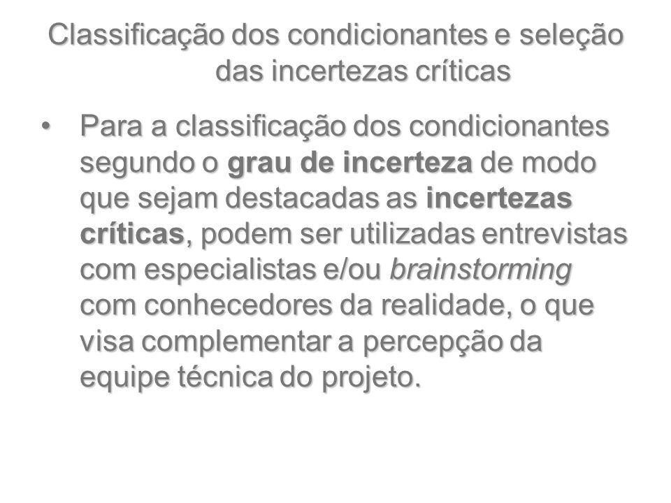 Classificação dos condicionantes e seleção das incertezas críticas Para a classificação dos condicionantes segundo o grau de incerteza de modo que sej
