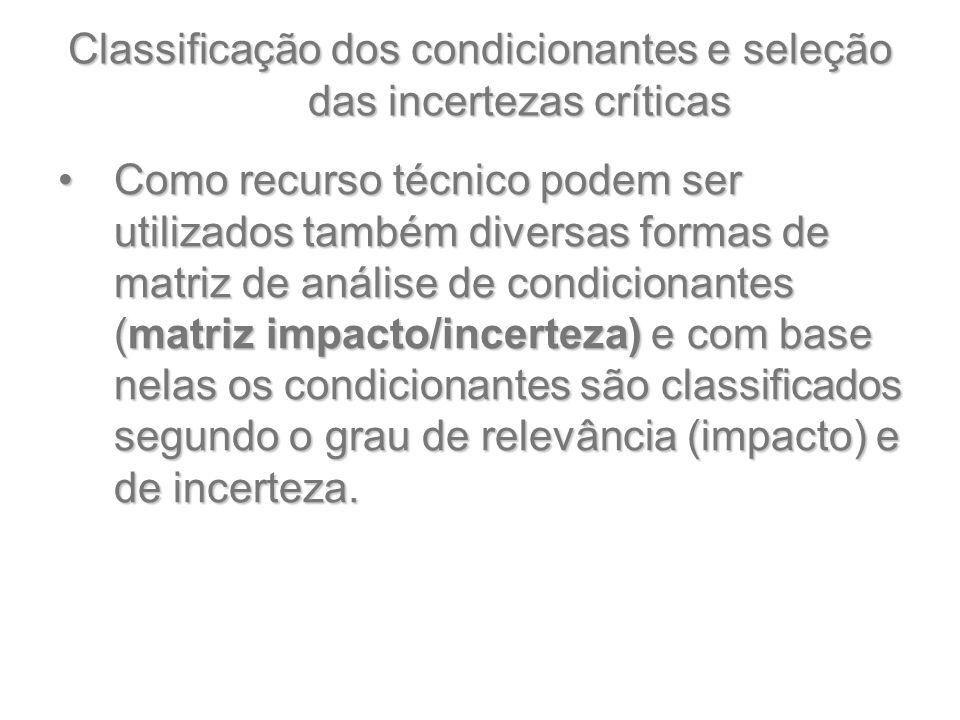 Classificação dos condicionantes e seleção das incertezas críticas Como recurso técnico podem ser utilizados também diversas formas de matriz de análi