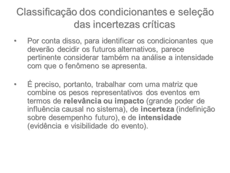 Classificação dos condicionantes e seleção das incertezas críticas Por conta disso, para identificar os condicionantes que deverão decidir os futuros