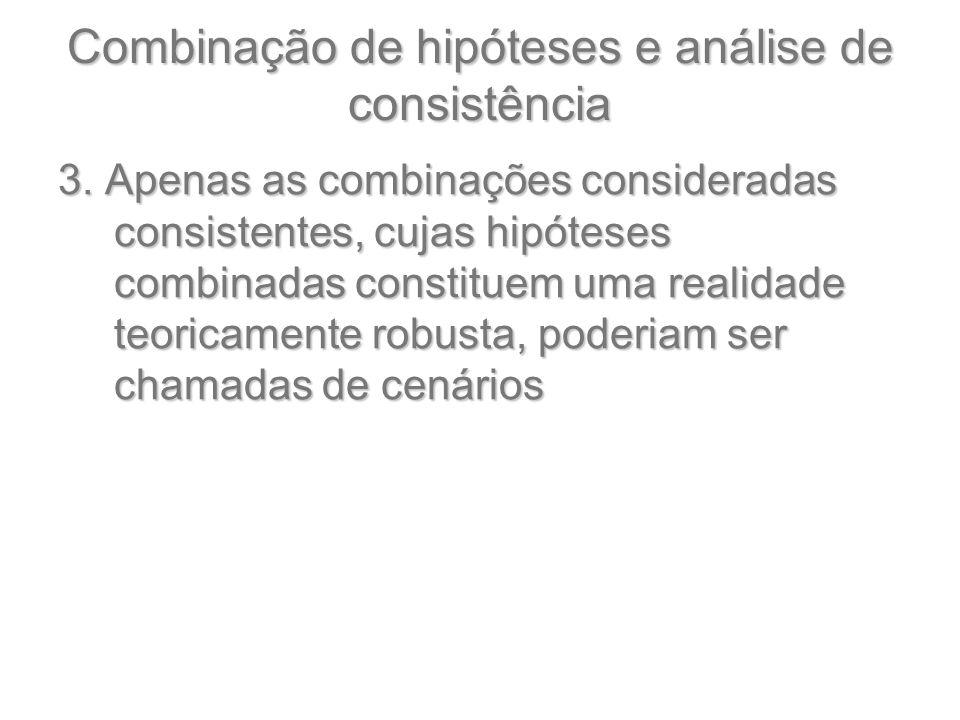 Combinação de hipóteses e análise de consistência 3. Apenas as combinações consideradas consistentes, cujas hipóteses combinadas constituem uma realid