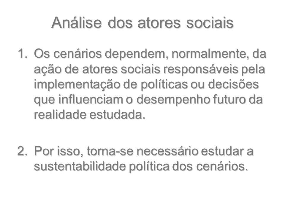 Análise dos atores sociais 1.Os cenários dependem, normalmente, da ação de atores sociais responsáveis pela implementação de políticas ou decisões que
