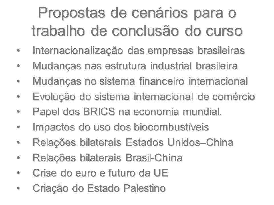 Propostas de cenários para o trabalho de conclusão do curso Internacionalização das empresas brasileirasInternacionalização das empresas brasileiras M