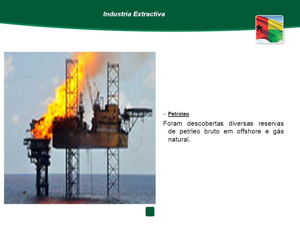 Industria Extractiva –Petroleo Foram descobertas diversas reservas de petrleo bruto em offshore e gás natural.