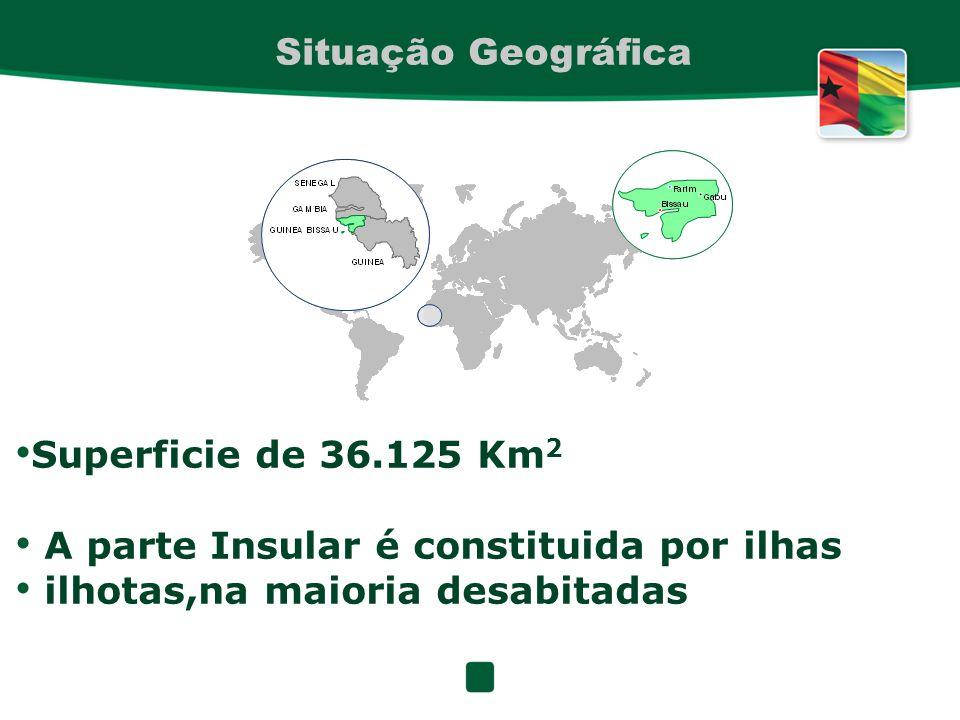 Situação Geográfica Superficie de 36.125 Km 2 A parte Insular é constituida por ilhas ilhotas,na maioria desabitadas