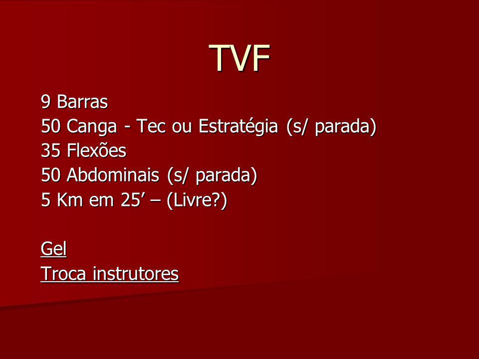 TVF 9 Barras 50 Canga - Tec ou Estratégia (s/ parada) 35 Flexões 50 Abdominais (s/ parada) 5 Km em 25' – (Livre?) Gel Troca instrutores