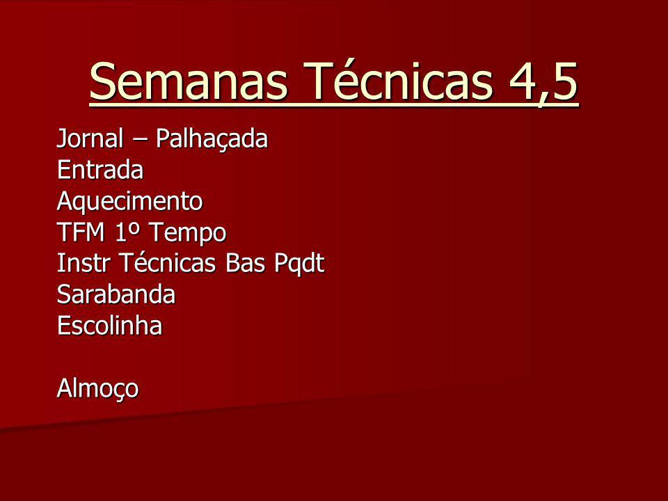 Semanas Técnicas 4,5 Jornal – Palhaçada EntradaAquecimento TFM 1º Tempo Instr Técnicas Bas Pqdt SarabandaEscolinhaAlmoço