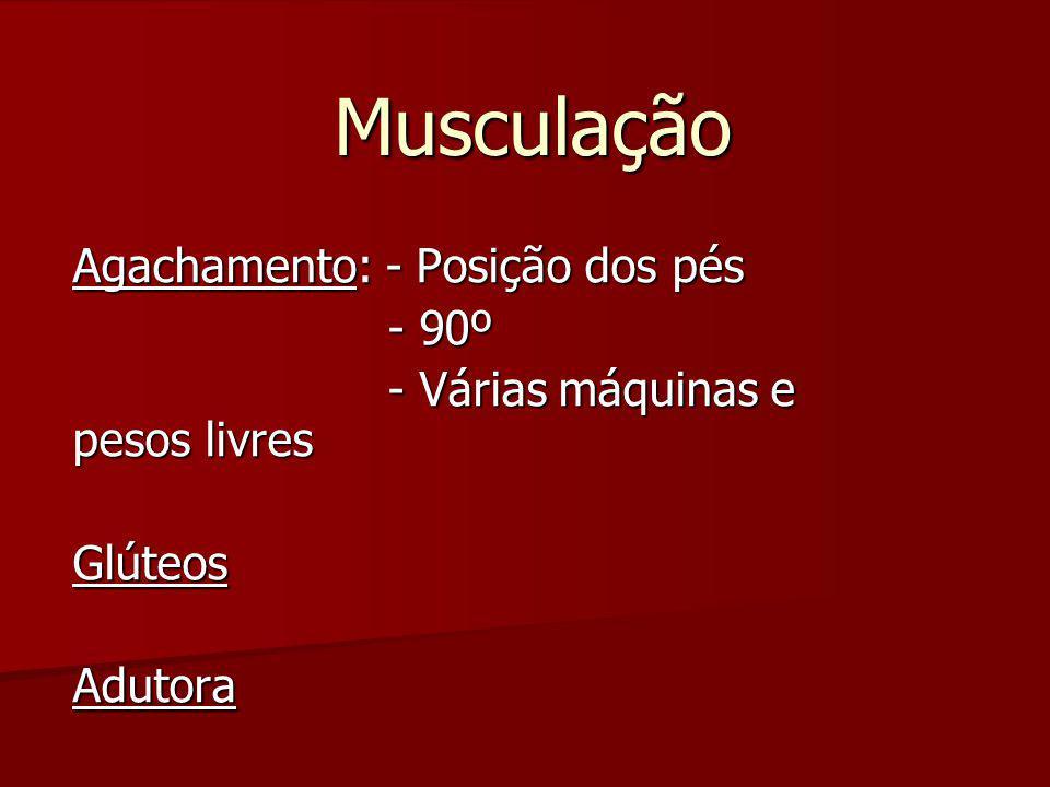 Musculação Agachamento: - Posição dos pés - 90º - 90º - Várias máquinas e pesos livres - Várias máquinas e pesos livresGlúteosAdutora