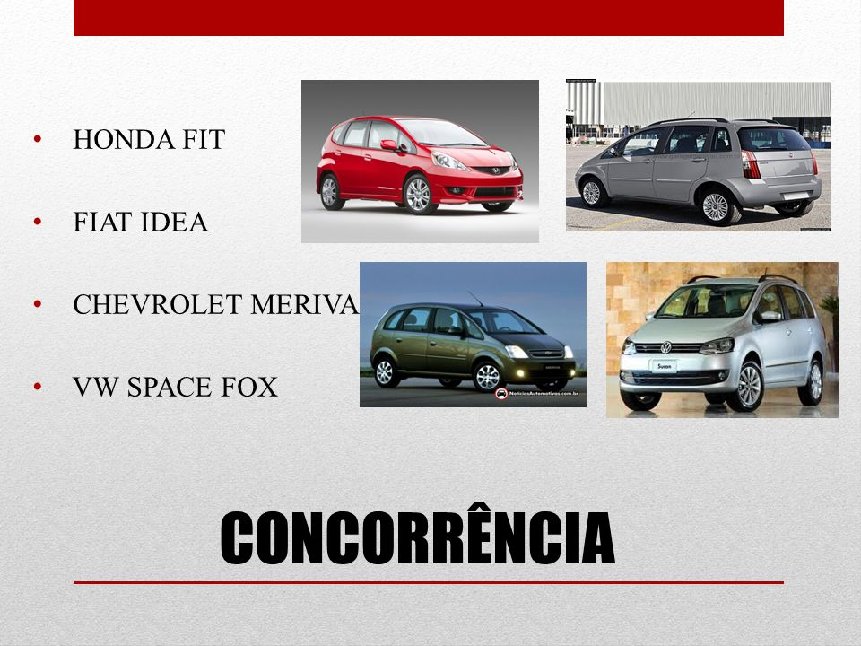 CONCORRÊNCIA HONDA FIT FIAT IDEA CHEVROLET MERIVA VW SPACE FOX