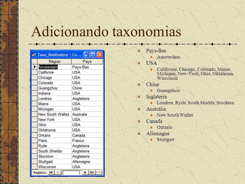 Adicionando taxonomias Pays-Bas Amsterdam USA Californie, Chicago, Colorado, Maine, Michigan, New-York, Ohio, Oklahoma, Wisconsin Chine Guangzhou Ingl