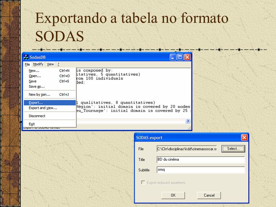 Exportando a tabela no formato SODAS