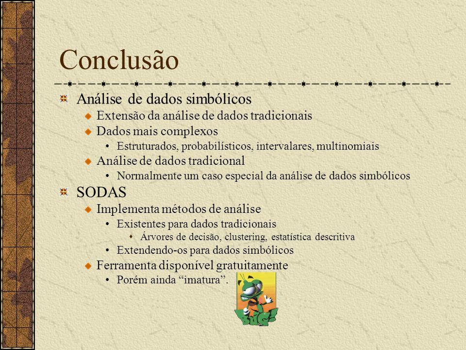 Conclusão Análise de dados simbólicos Extensão da análise de dados tradicionais Dados mais complexos Estruturados, probabilísticos, intervalares, mult