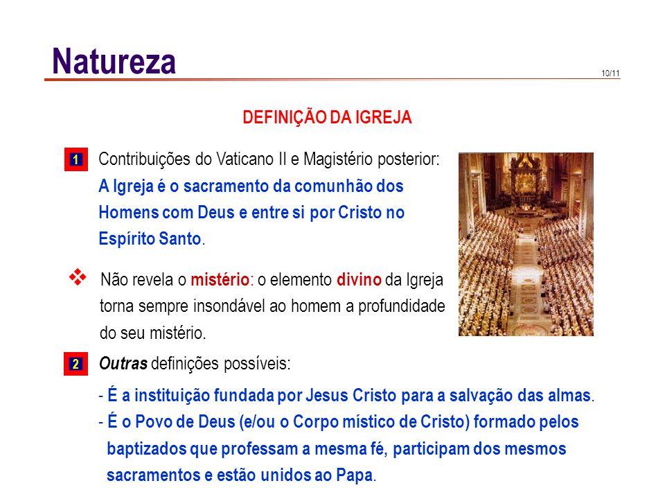 10/11 Natureza Contribuições do Vaticano II e Magistério posterior: A Igreja é o sacramento da comunhão dos Homens com Deus e entre si por Cristo no E