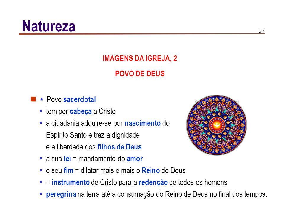 5/11 Natureza   Povo sacerdotal  tem por cabeça a Cristo  a cidadania adquire-se por nascimento do Espírito Santo e traz a dignidade e a liberdade