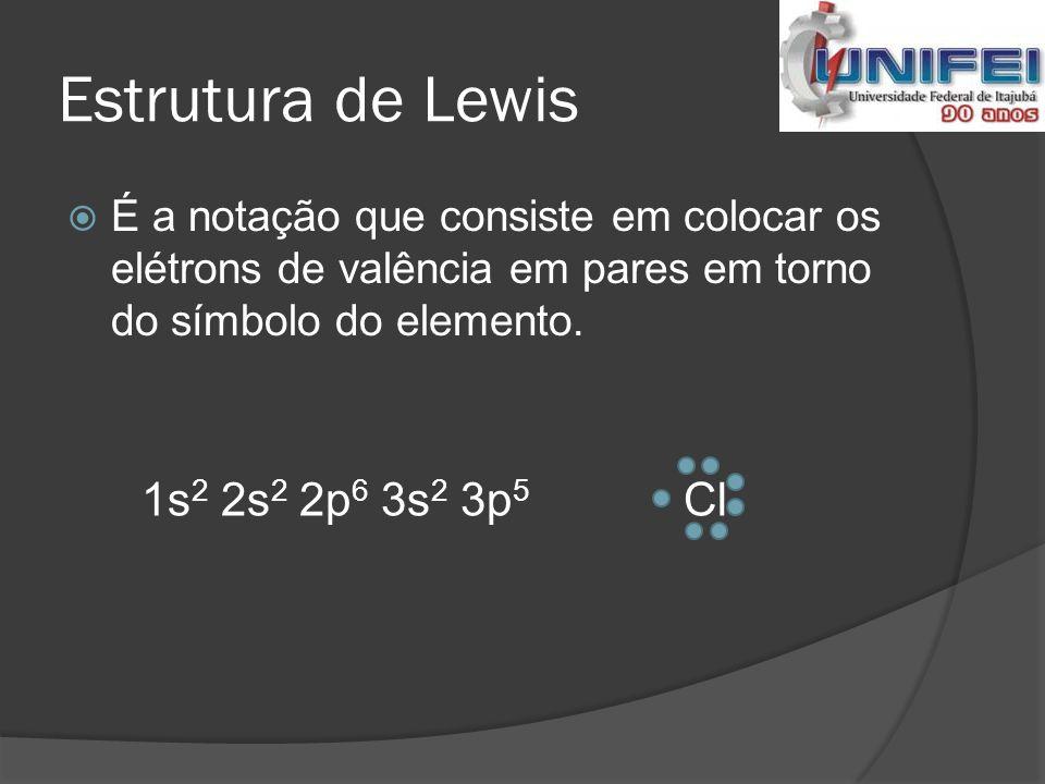 Exercício 02  Dados os elementos 7 N e 9 F, mostrar as fórmulas de Lewis e os tipos de ligação que ocorrem entre esses átomos.