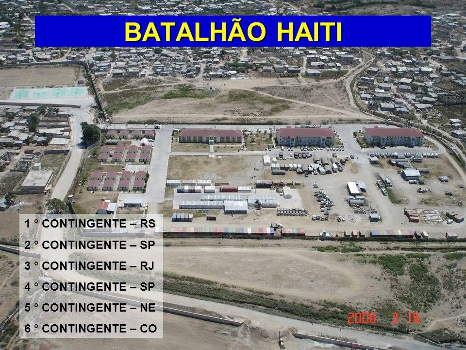 BATALHÃO HAITI 1 ° CONTINGENTE – RS 2 ° CONTINGENTE – SP 3 ° CONTINGENTE – RJ 4 ° CONTINGENTE – SP 5 ° CONTINGENTE – NE 6 ° CONTINGENTE – CO