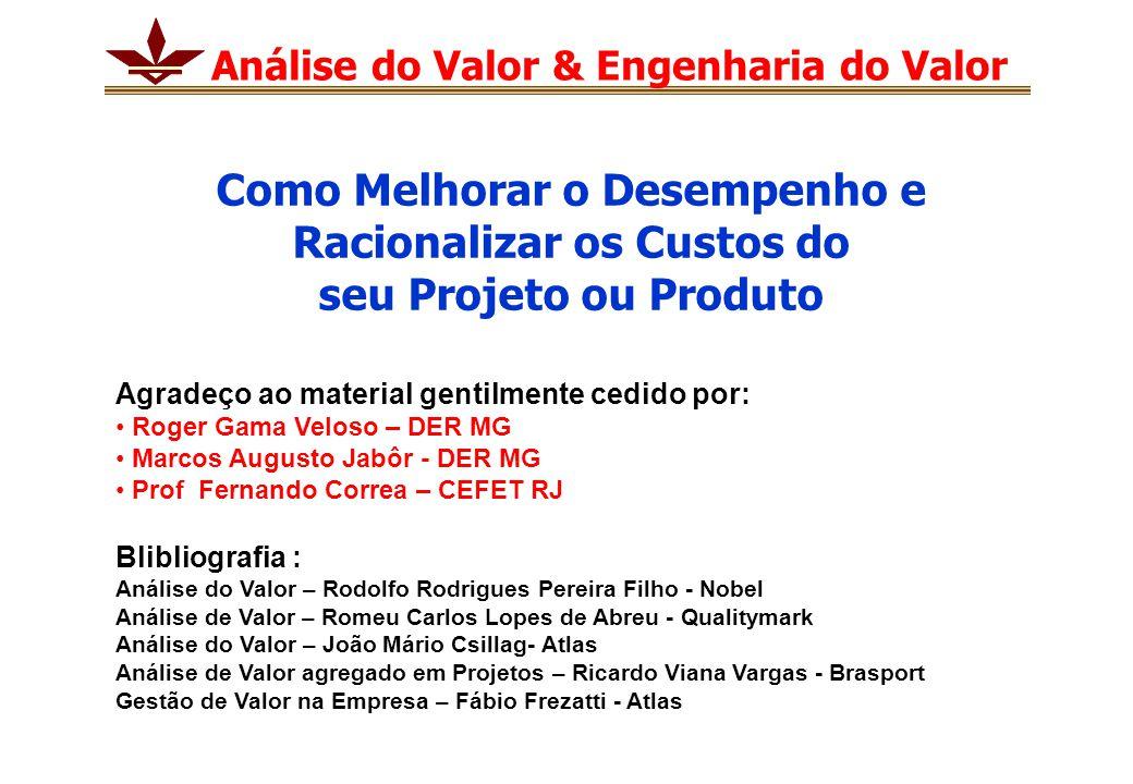 Análise do Valor & Engenharia do Valor Agradeço ao material gentilmente cedido por: Roger Gama Veloso – DER MG Marcos Augusto Jabôr - DER MG Prof Fern