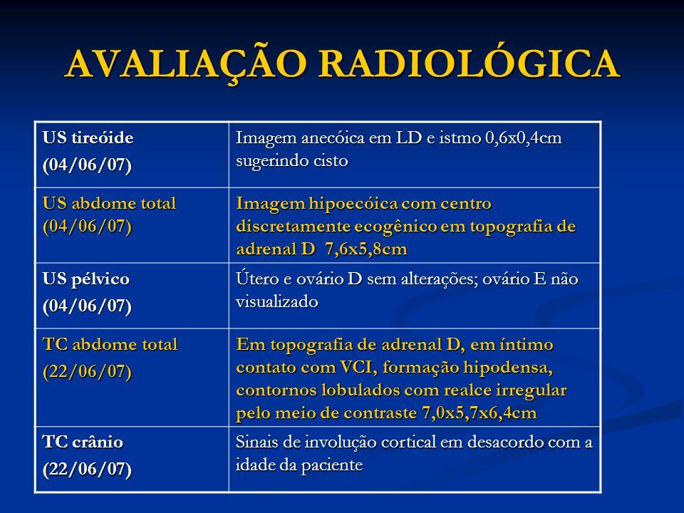 AVALIAÇÃO RADIOLÓGICA US tireóide (04/06/07) Imagem anecóica em LD e istmo 0,6x0,4cm sugerindo cisto US abdome total (04/06/07) Imagem hipoecóica com centro discretamente ecogênico em topografia de adrenal D 7,6x5,8cm US pélvico (04/06/07) Útero e ovário D sem alterações; ovário E não visualizado TC abdome total (22/06/07) Em topografia de adrenal D, em íntimo contato com VCI, formação hipodensa, contornos lobulados com realce irregular pelo meio de contraste 7,0x5,7x6,4cm TC crânio (22/06/07) Sinais de involução cortical em desacordo com a idade da paciente