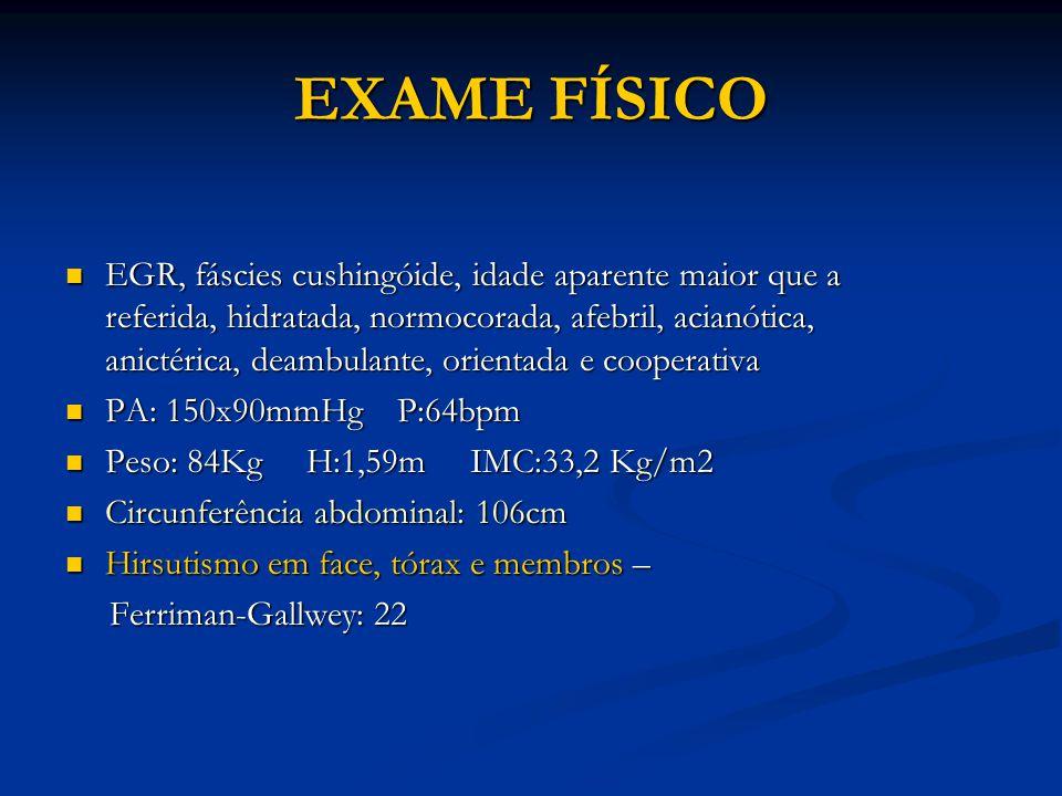 EXAME FÍSICO EGR, fáscies cushingóide, idade aparente maior que a referida, hidratada, normocorada, afebril, acianótica, anictérica, deambulante, orientada e cooperativa EGR, fáscies cushingóide, idade aparente maior que a referida, hidratada, normocorada, afebril, acianótica, anictérica, deambulante, orientada e cooperativa PA: 150x90mmHg P:64bpm PA: 150x90mmHg P:64bpm Peso: 84Kg H:1,59m IMC:33,2 Kg/m2 Peso: 84Kg H:1,59m IMC:33,2 Kg/m2 Circunferência abdominal: 106cm Circunferência abdominal: 106cm Hirsutismo em face, tórax e membros – Hirsutismo em face, tórax e membros – Ferriman-Gallwey: 22 Ferriman-Gallwey: 22