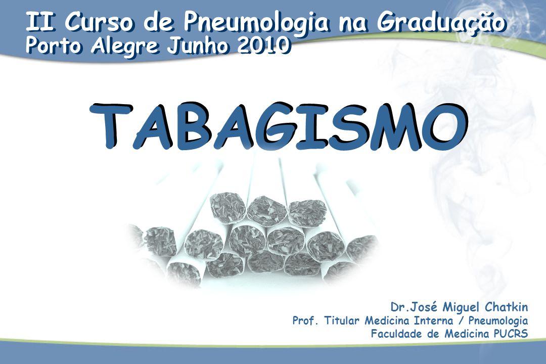TABAGISMO Dr.José Miguel Chatkin Prof. Titular Medicina Interna / Pneumologia Faculdade de Medicina PUCRS II Curso de Pneumologia na Graduação Porto A