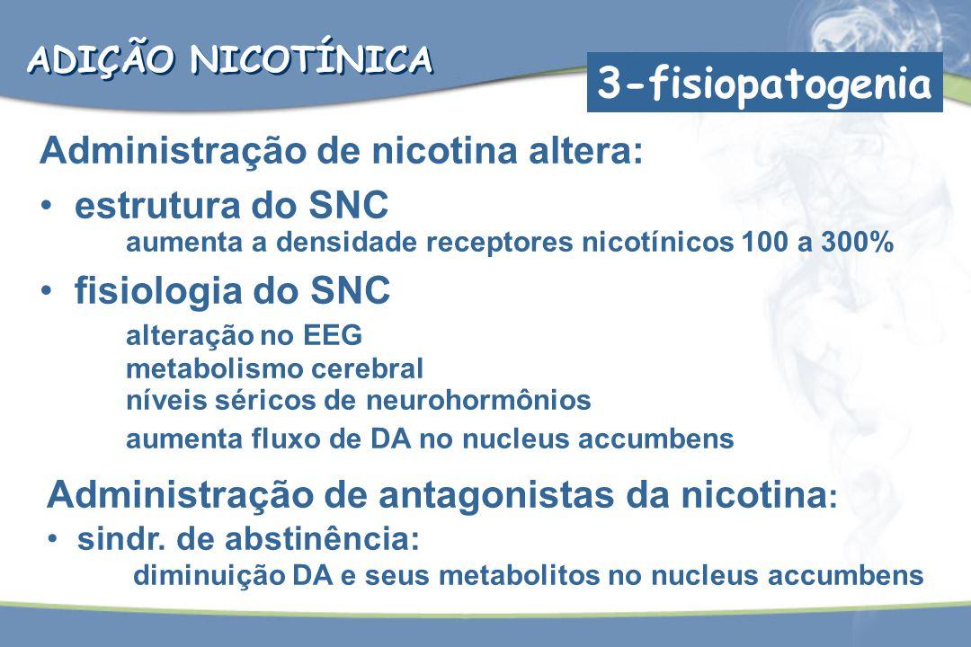 Administração de nicotina altera: estrutura do SNC aumenta a densidade receptores nicotínicos 100 a 300% fisiologia do SNC alteração no EEG metabolism