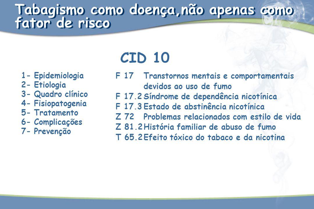Tabagismo como doença,não apenas como fator de risco CID 10 1- Epidemiologia 2- Etiologia 3- Quadro clínico 4- Fisiopatogenia 5- Tratamento 6- Complic