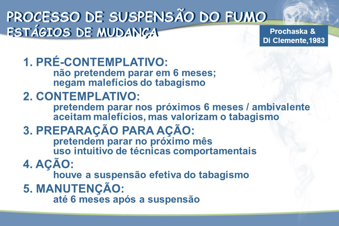 PROCESSO DE SUSPENSÃO DO FUMO ESTÁGIOS DE MUDANÇA PROCESSO DE SUSPENSÃO DO FUMO ESTÁGIOS DE MUDANÇA Prochaska & Di Clemente,1983 1. PRÉ-CONTEMPLATIVO: