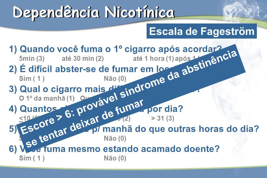 1) Quando você fuma o 1º cigarro após acordar? 5min (3) até 30 min (2) até 1 hora (1)após 1 h (0) 2) É difícil abster-se de fumar em locais proibidos?