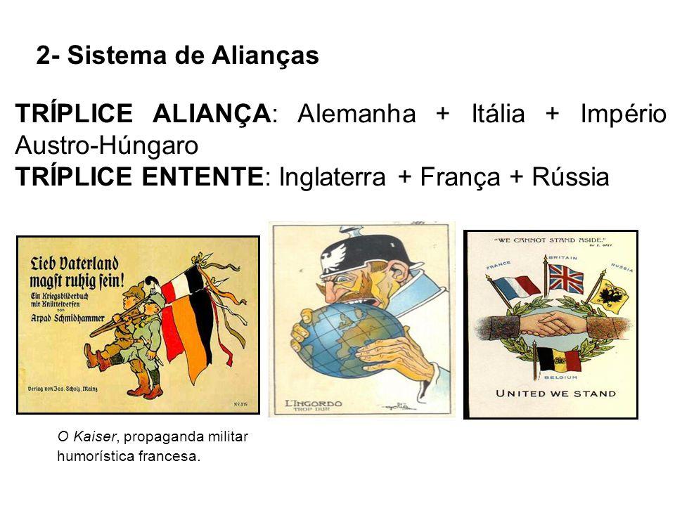 20 Política das Alianças (Tríplice Aliança formada em 1882 e Tríplice Entente, formada em 1907) Revanchismo francês Corrida Armamentista Projeto naval