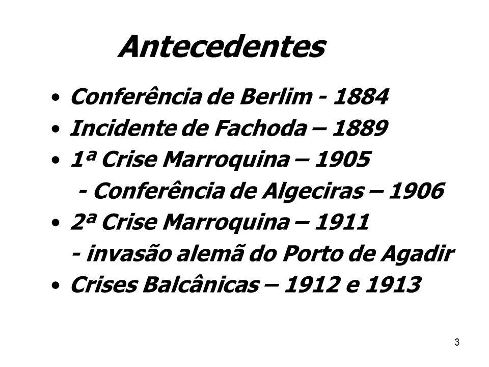 2 1ª GUERRA MUNDIAL (1914-1918) Assassinato de Francisco Ferdinando – estopim da Guerra