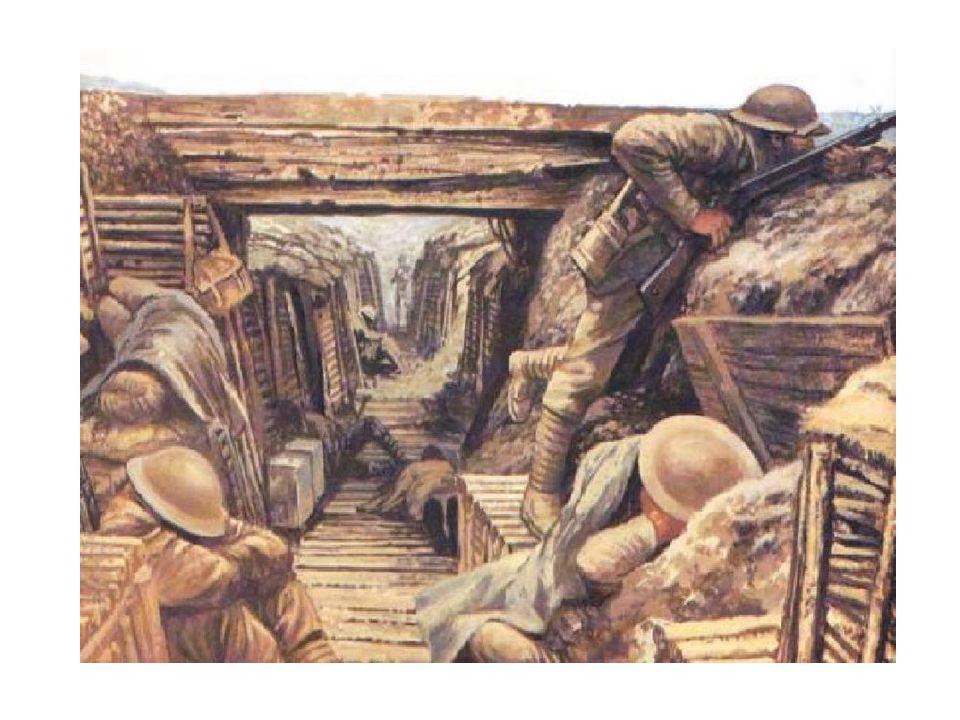 GUERRA DE TRINCHEIRAS Conflito muito lento Muito equilíbrio e imobilidade dos soldados Muito sofrimento para os soldados