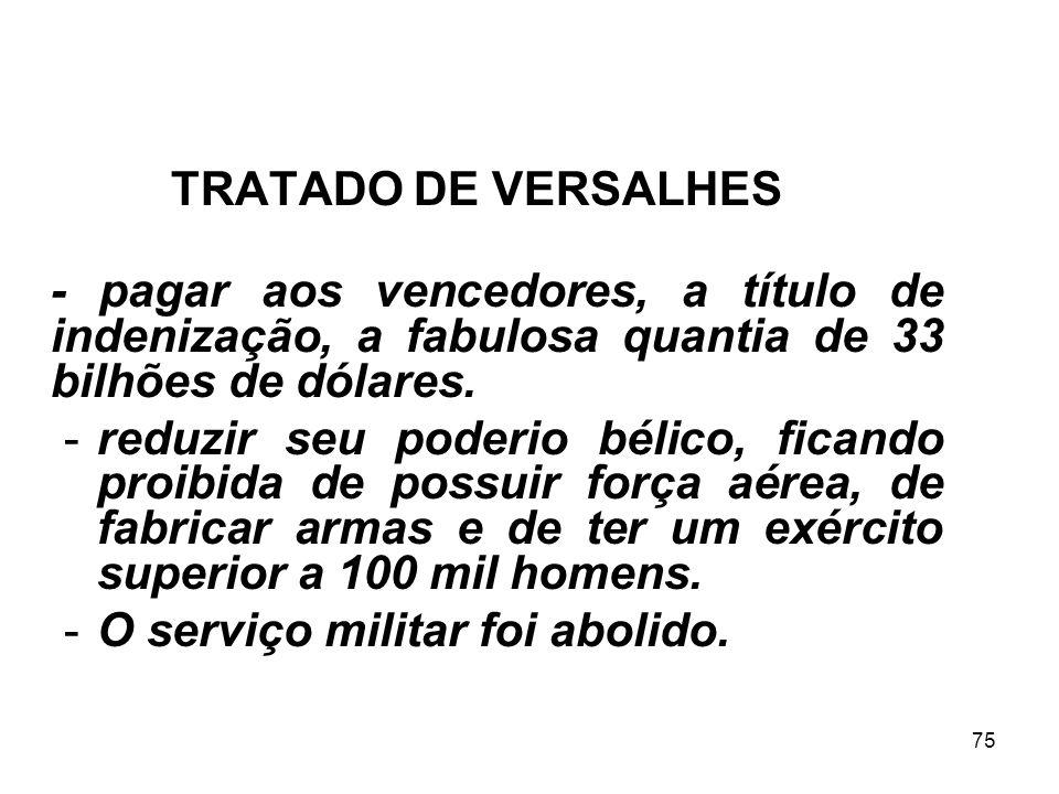 74 Imposições à Alemanha TRATADO DE VERSALHES O tratado de Versalhes estabelecia que a Alemanha era obrigada a: - restituir a Alsácia e a Lorena à Fra