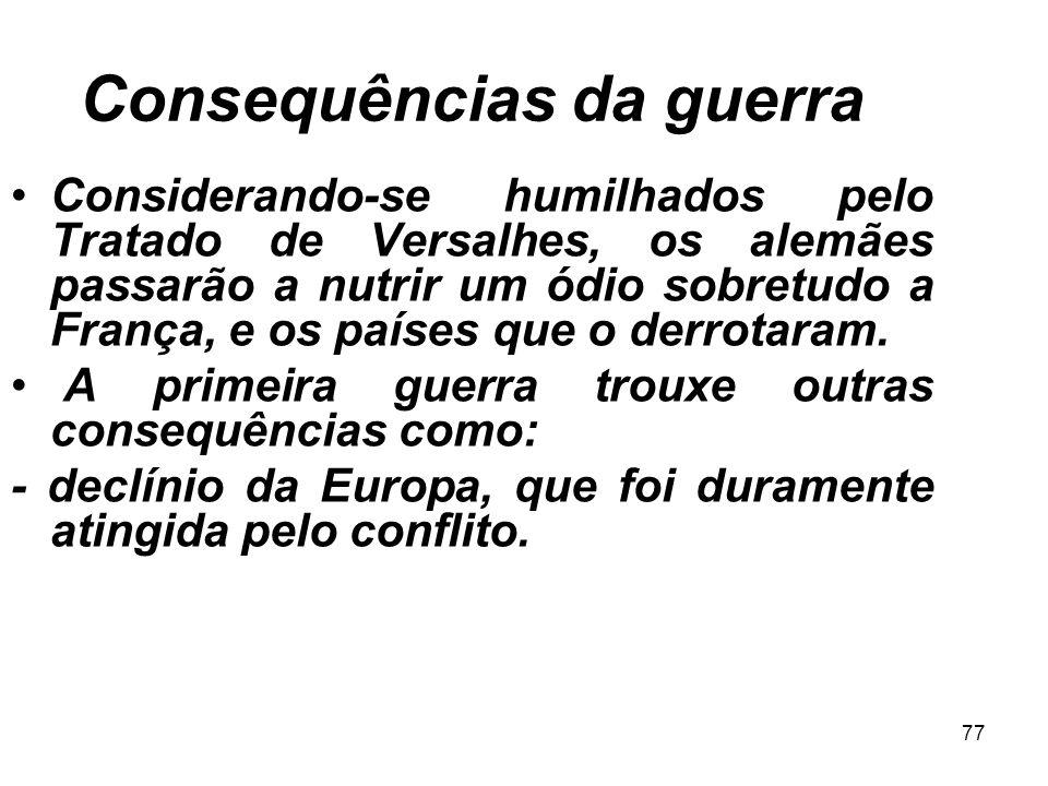 TRATADO DE VERSALHES  Devolução da Alsácia-Lorena (FRA);  Perda de todas as colônias;  Perda de 1/7 do território;  Indenização aos vencedores; 