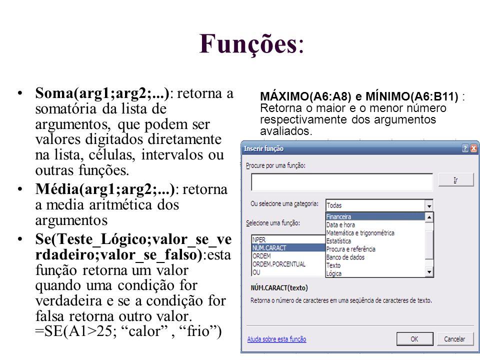 Funções: Soma(arg1;arg2;...): retorna a somatória da lista de argumentos, que podem ser valores digitados diretamente na lista, células, intervalos ou