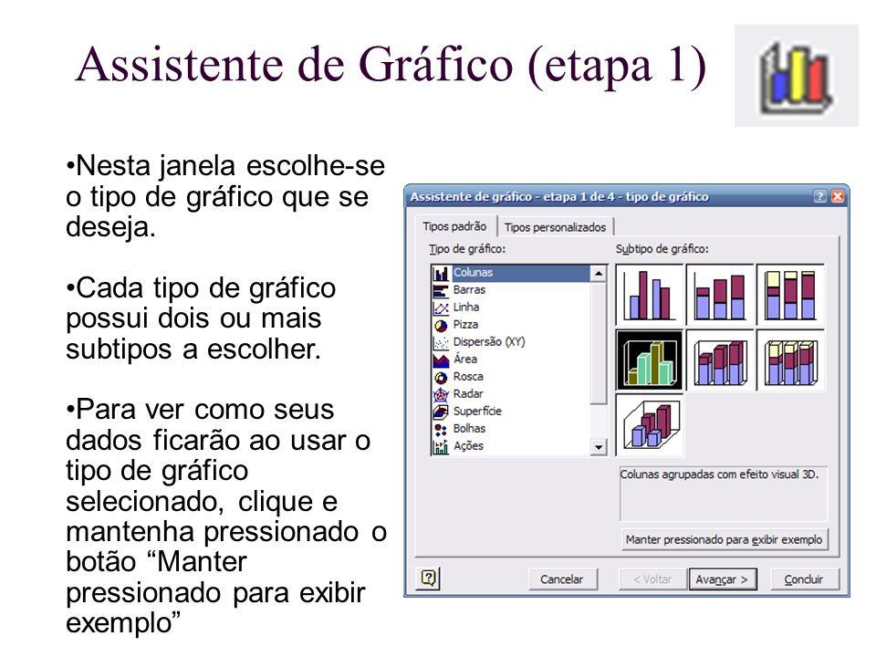 Assistente de Gráfico (etapa 1) Nesta janela escolhe-se o tipo de gráfico que se deseja. Cada tipo de gráfico possui dois ou mais subtipos a escolher.