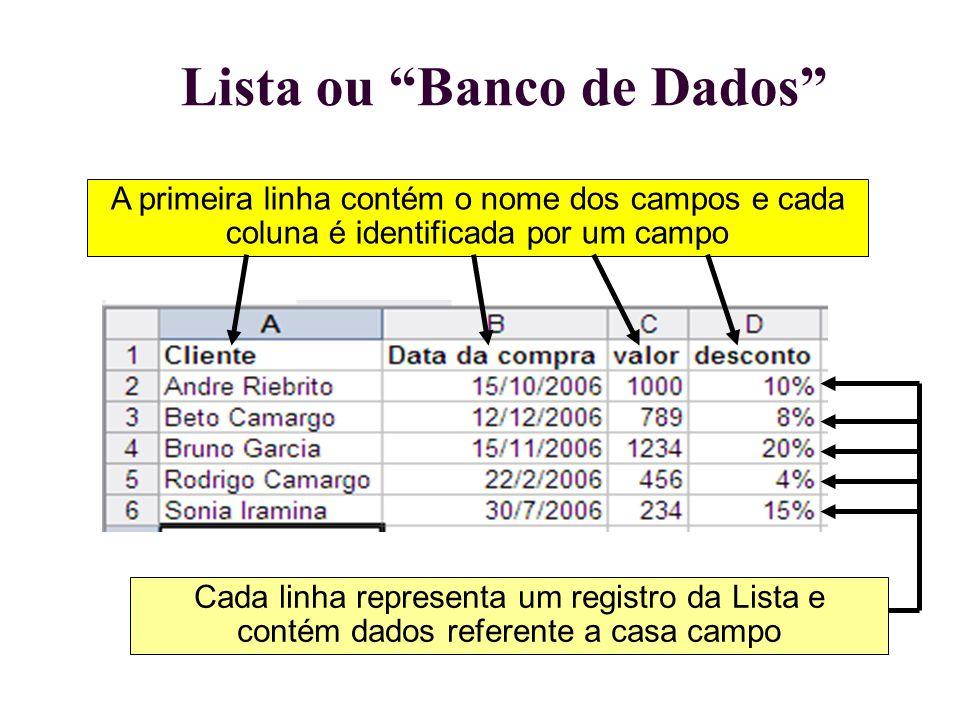 """Lista ou """"Banco de Dados"""" A primeira linha contém o nome dos campos e cada coluna é identificada por um campo Cada linha representa um registro da Lis"""