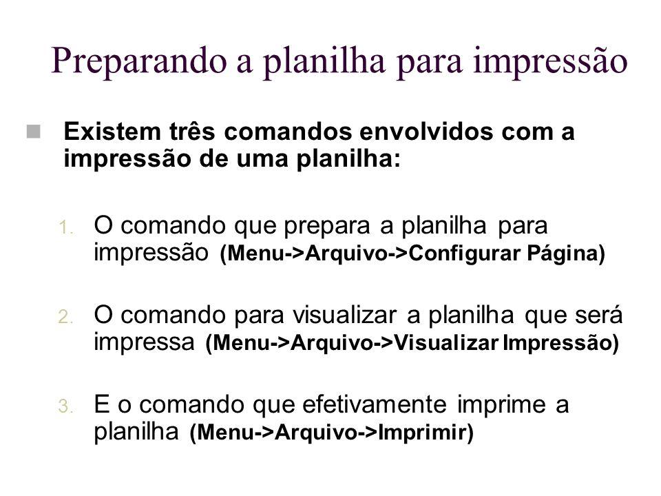 Preparando a planilha para impressão Existem três comandos envolvidos com a impressão de uma planilha: 1. O comando que prepara a planilha para impres