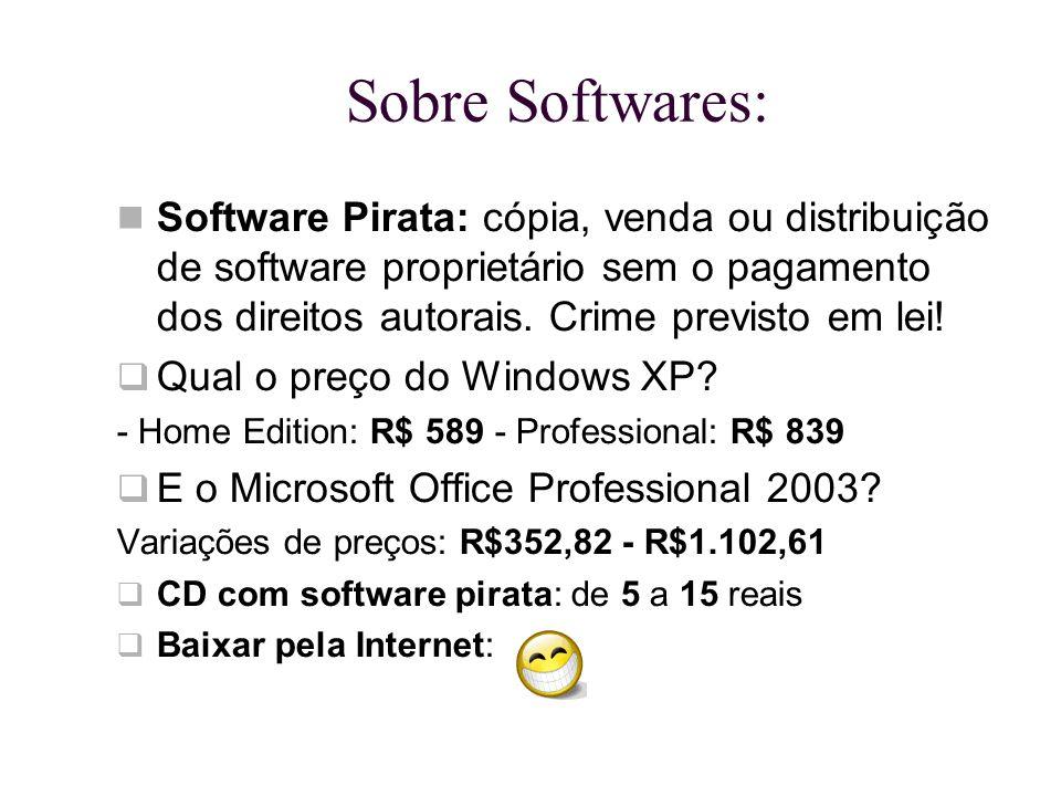 Sobre Softwares: Software Pirata: cópia, venda ou distribuição de software proprietário sem o pagamento dos direitos autorais. Crime previsto em lei!