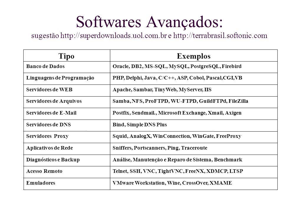 Softwares Avançados: sugestão http://superdownloads.uol.com.br e http://terrabrasil.softonic.com VMware Workstation, Wine, CrossOver, XMAMEEmuladores